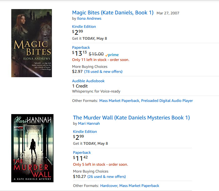 Two different books with Kate Daniels main character