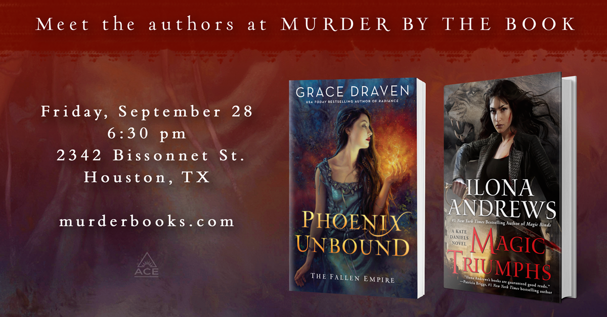 Banner promoting 09/28 signing with Ilona Andrews and Grace Draven