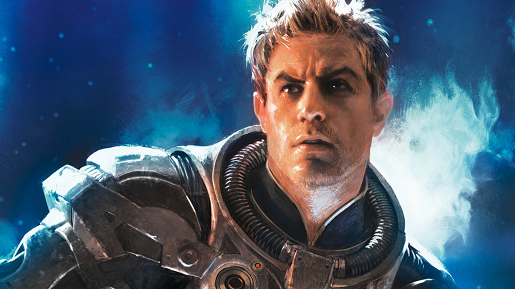 Lost Fleet Invincible, close up of a man in a spacesuit.