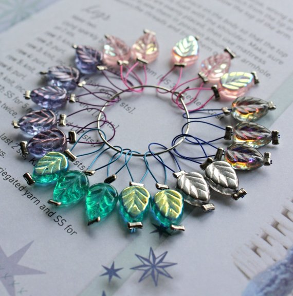 Picture of leaf shaped stitch markers