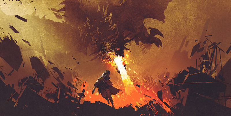 Dragon flying and setting things on fire