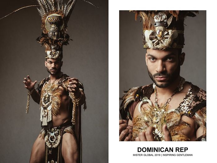 Man in the Dominican Republic national costumes: brown and grey theme, fur, feathers, and shells.