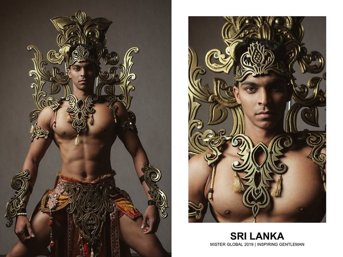 Man in Sri Lankan national costume: red and gold kilt, naked from the waist up, wearing a frame of stylized golden flames on his shoulders and head.