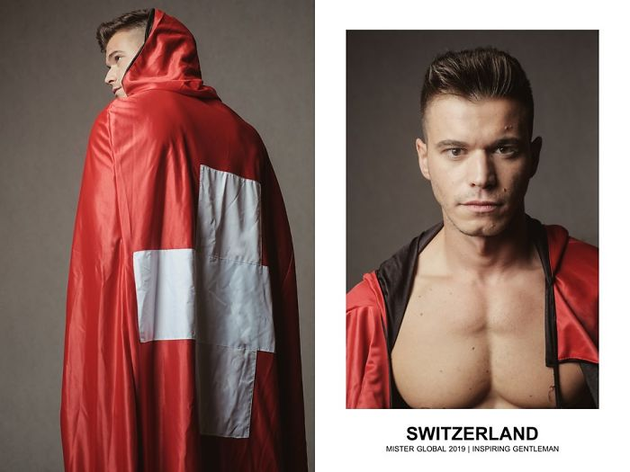 Half naked man draped in Switrzerland's flag.