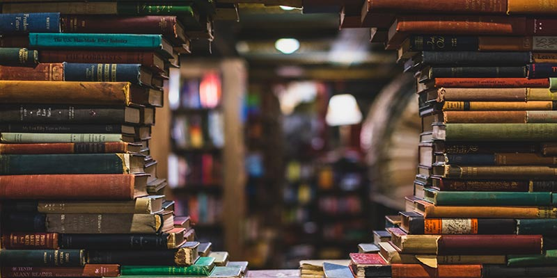 Books stacked to form a circle.