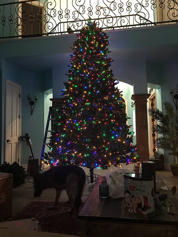 Artificial tree with a large German Shepherd for scale.