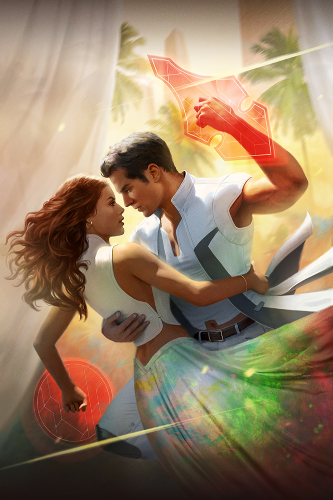 A man and a woman in colorful sci-fi clothes dancing in a sunlit plaza, red forcefield shields emerging from their arms.